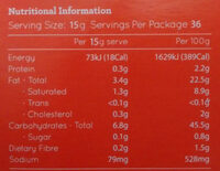 Gluten Free Puff Pastry Sheets - Nutrition facts