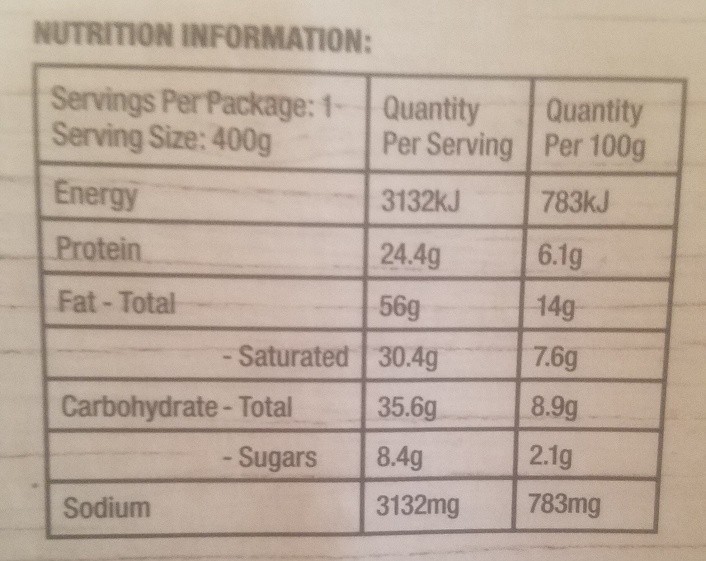 Angus Beef Sausages with creamy potato & peas & a rich onion gravy - Nutrition facts - en