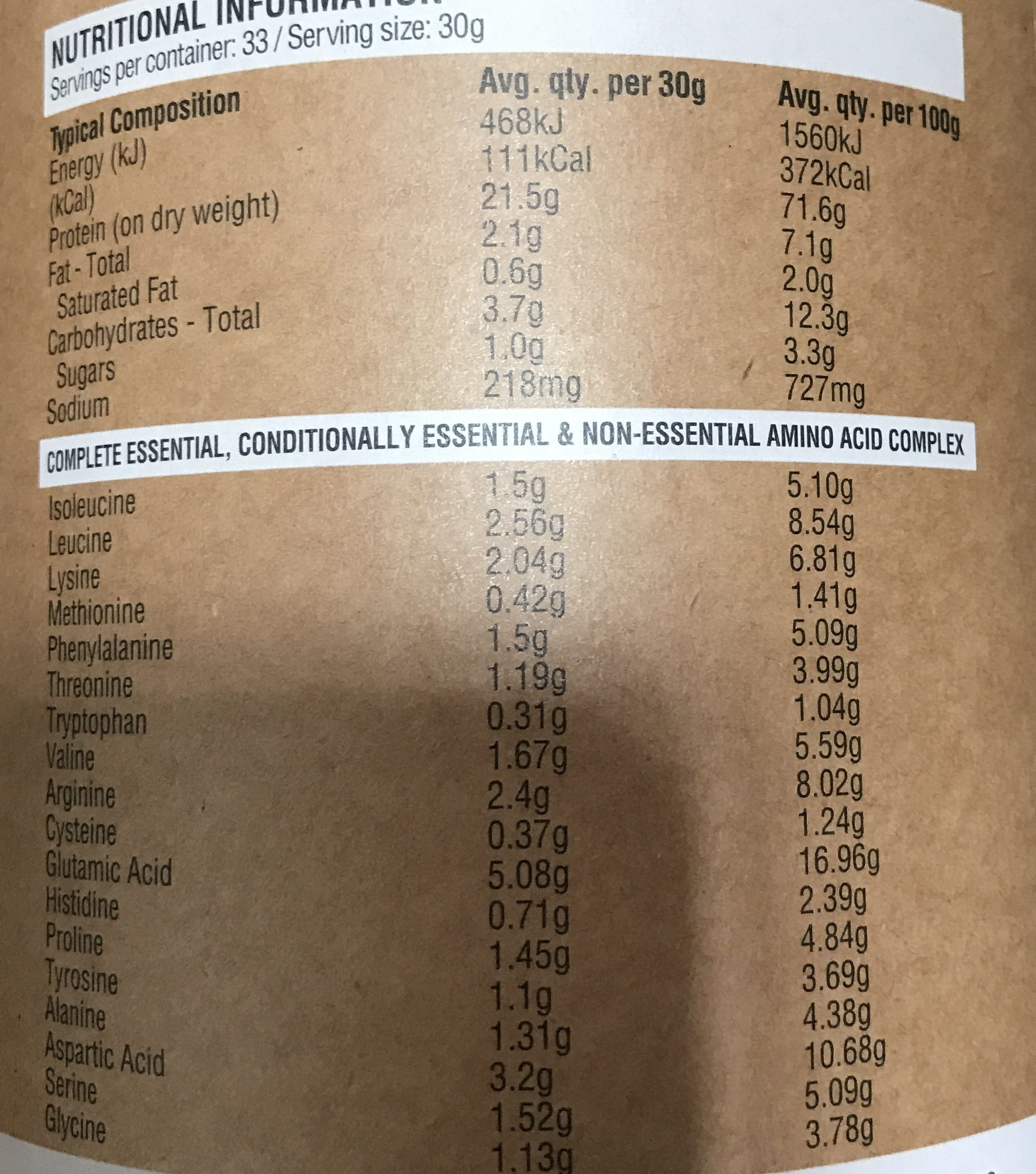 Amazonia Raw Protein Isolate Cacao & Coconut - Nutrition facts - fr