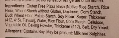 Gluten Free Pizza Base - Ingredients