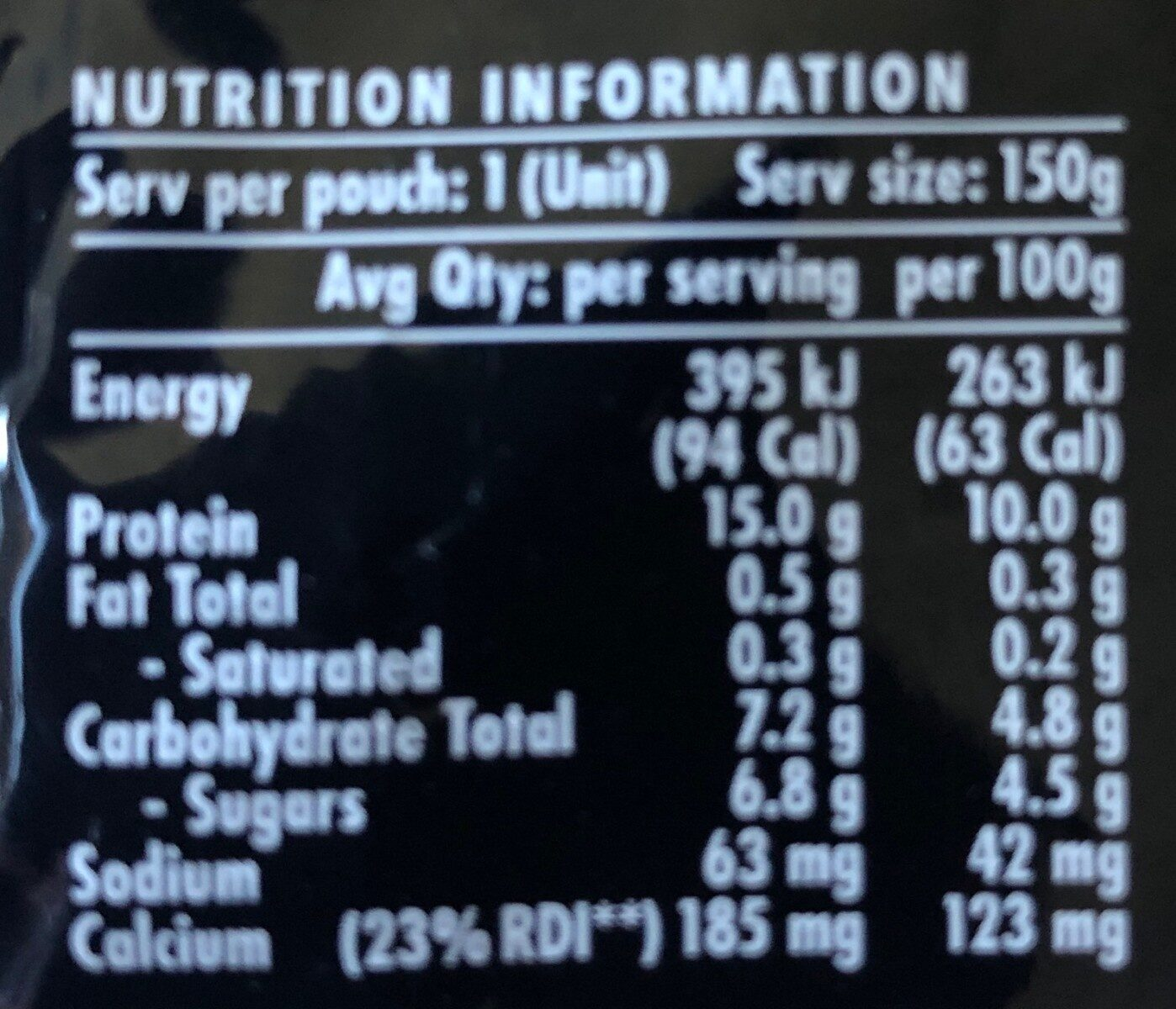 YoPRO - Nutrition facts - en