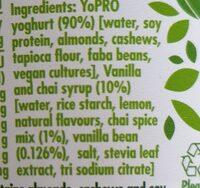 yopro Vanilla and chai - Ingredients - en