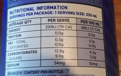Kombucha Blueberry and Ginger - Nutrition facts
