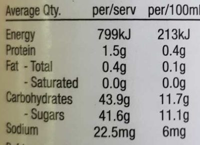 Sam's Fruit Lunch Mango + more - Nutrition facts