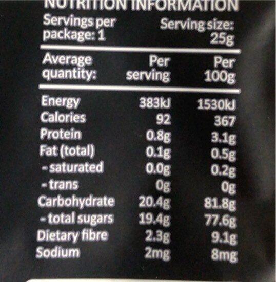 Fruity crips - Giá trị dinh dưỡng - fr