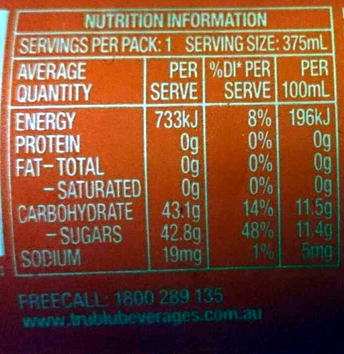 LA Ice Cola - Nutrition facts - en