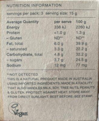 Macadamia - Informations nutritionnelles - en