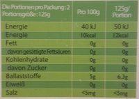 Spaghetti konjak - Informations nutritionnelles - fr