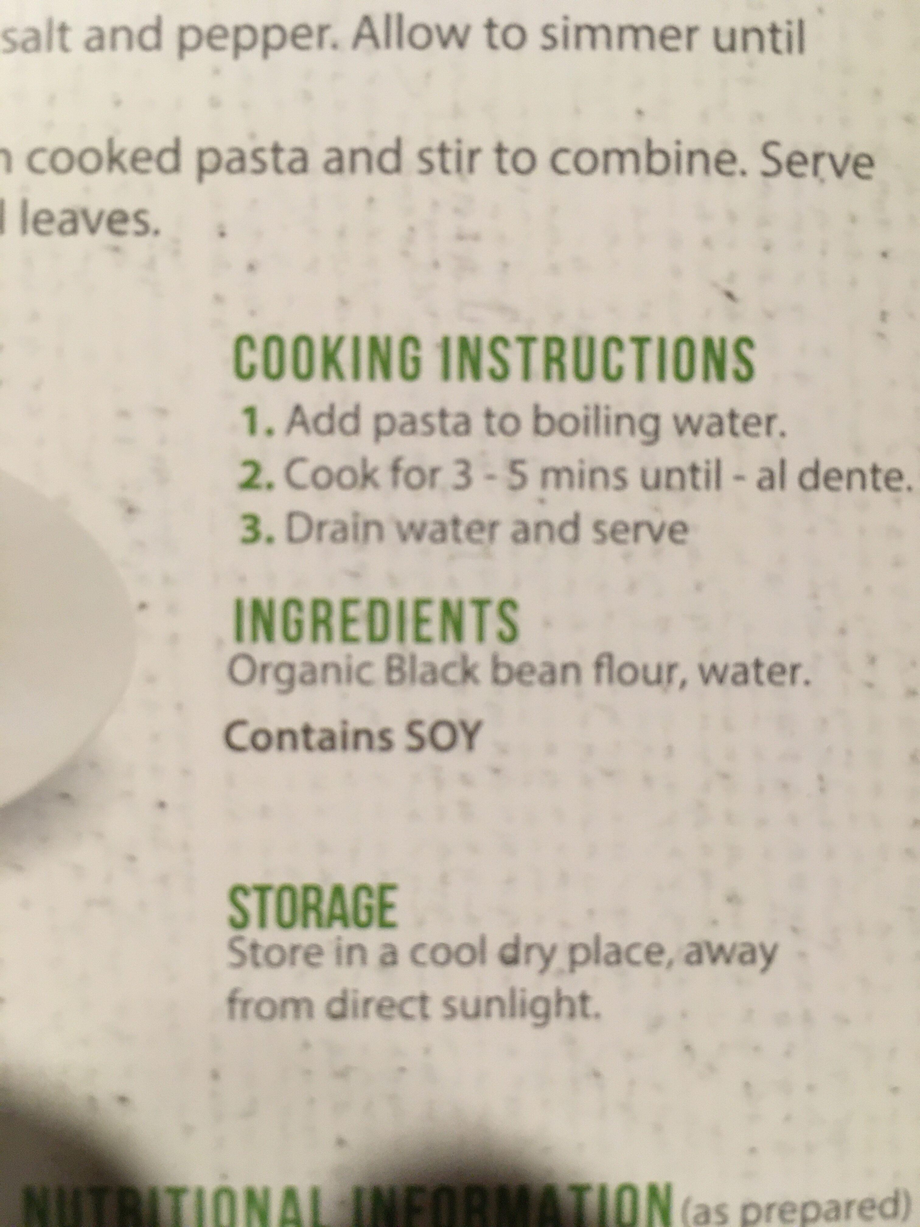 Black bean organic fettuccine - Ingredientes - en