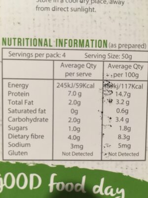 Black bean organic fettuccine - Información nutricional - en