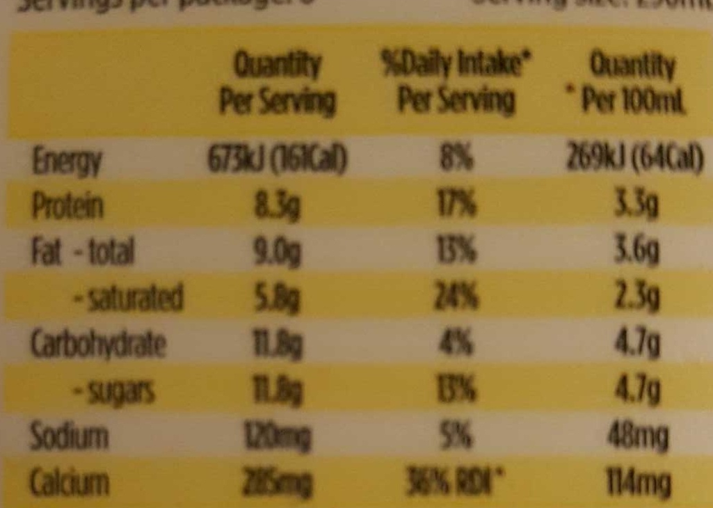 SADA Fresh - Nutrition facts - en
