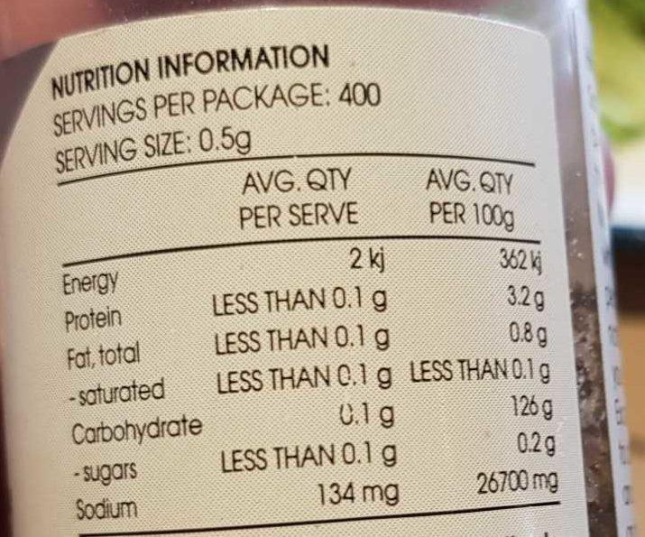 Himalayan Pink Crystal Rock Salt with Organic Black Pepper - Nutrition facts - en