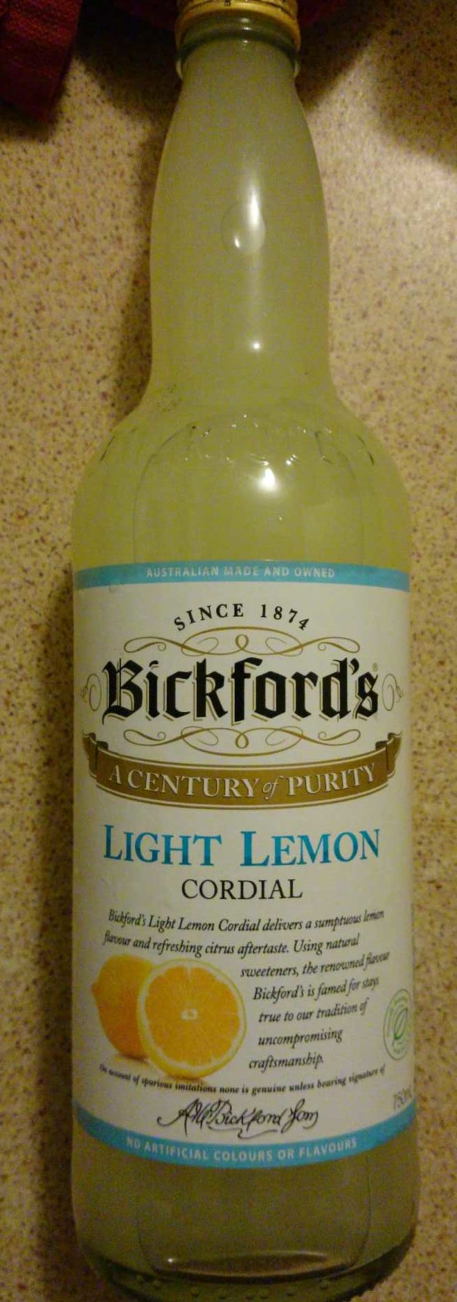 Bickfords Light Lemon Cordial - Product
