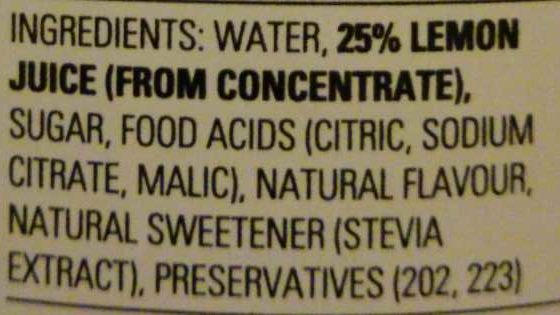 Bickfords Light Lemon Cordial - Ingredients