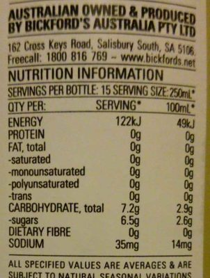 Bickfords Light Lemon Cordial - Nutrition facts
