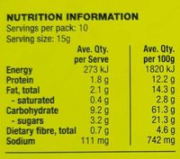 Sunflower & Thyme Crackers - Nutrition facts
