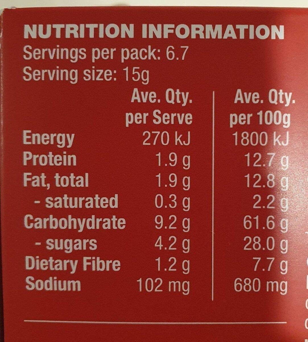 Raisin & Pumpkin Seed Artisan Crackers - Nutrition facts - en