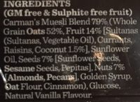 Classic Fruit and Nut Muesli Bar - Ingredients