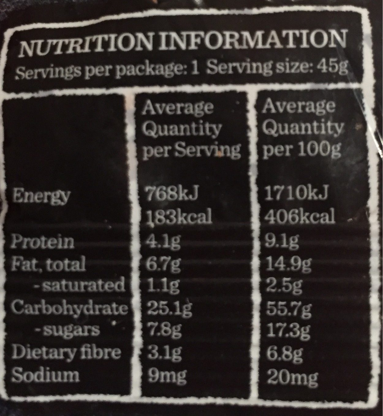 Classic Fruit and Nut Muesli Bar - Informations nutritionnelles