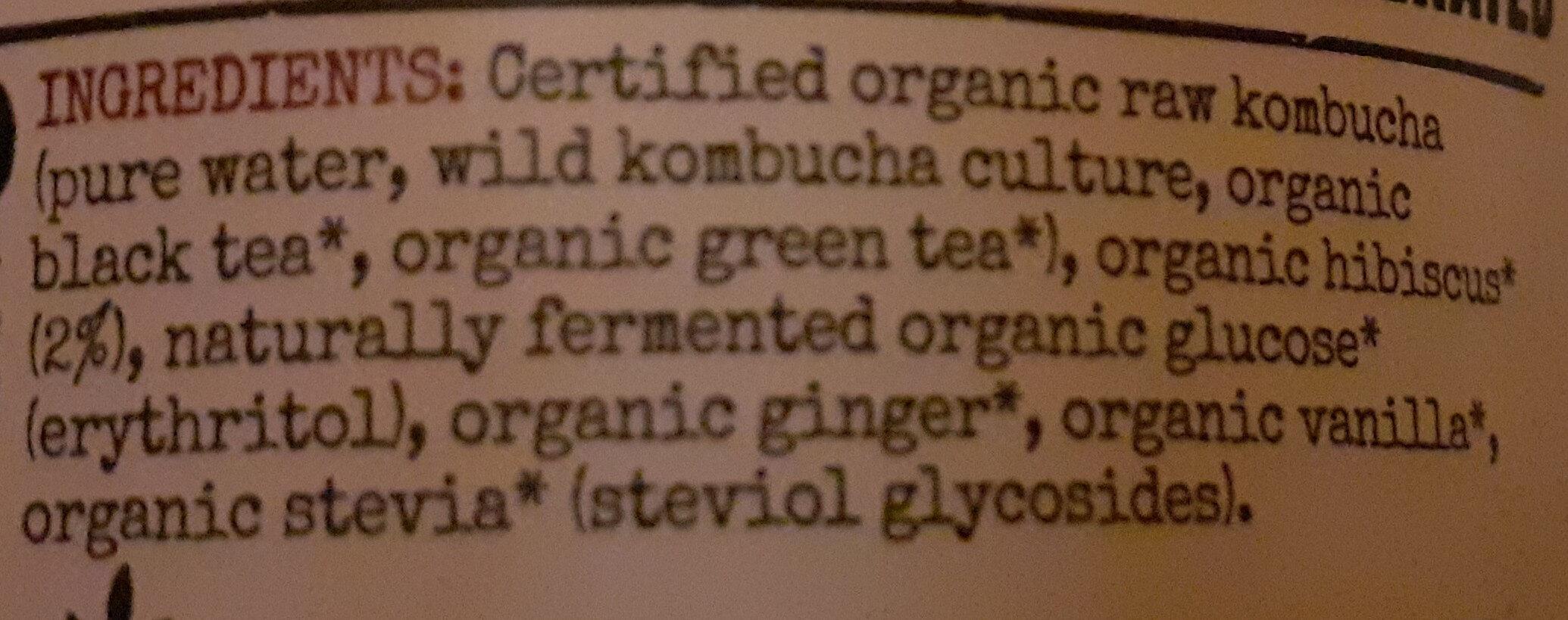 Organic Kombucha - Ingrédients - en