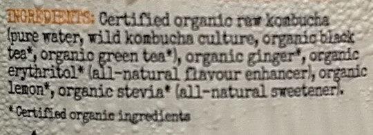 Organic Kombucha - Ginger Lemon - Ingredients - en