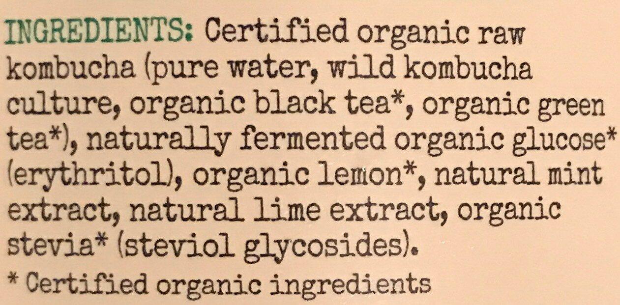 Kombucha - Lemon Lime and Mint - Ingredients - en