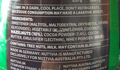 Nuttvia hazelnut spread - Ingrediënten - en