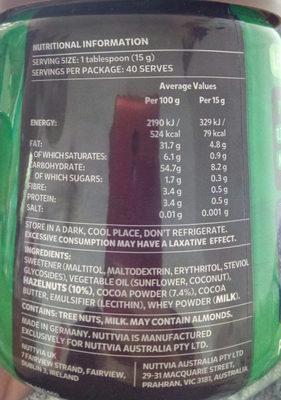 Nuttvia hazelnut spread - Voedingswaarden - en