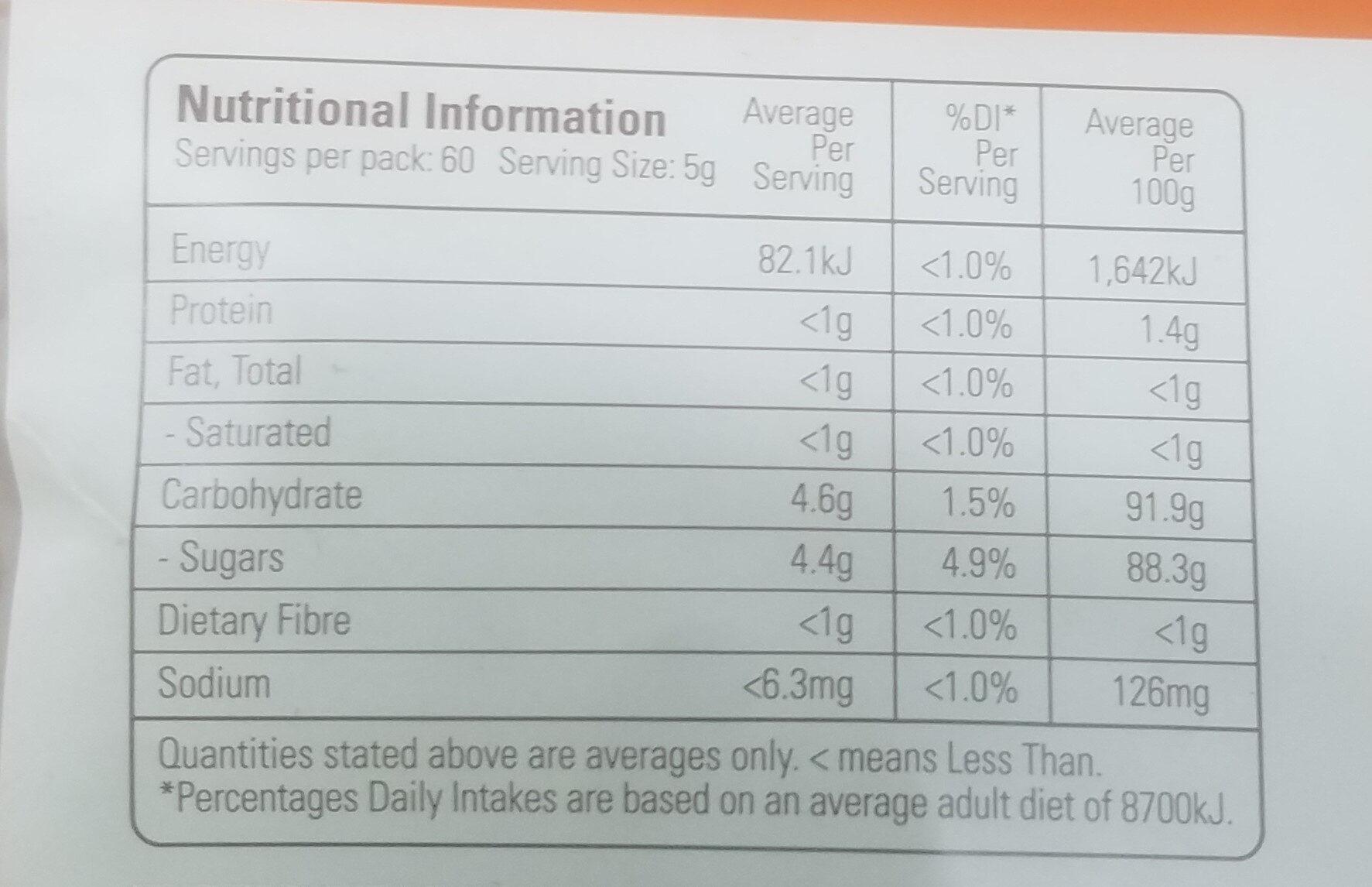 Organic Premium Coconut Sugar - Nutrition facts - en