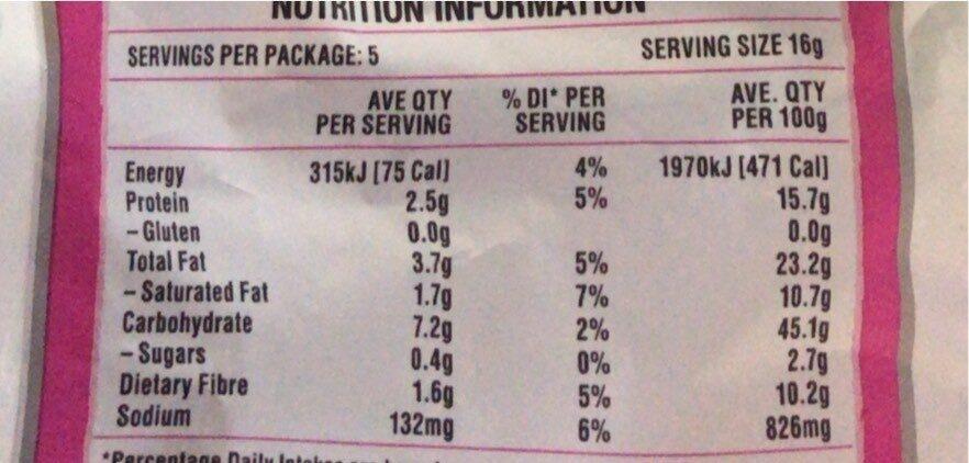 Baked pea crisps - Nutrition facts - en