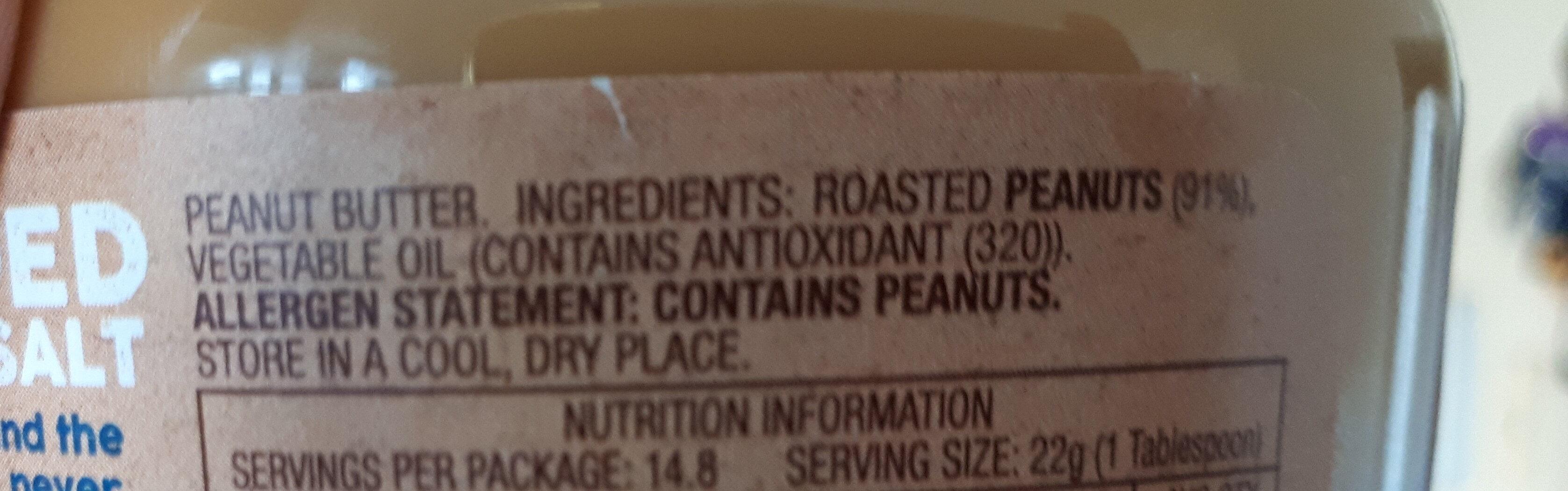 Peanut Butter No Added Sugar or Salt - Ingredients - en