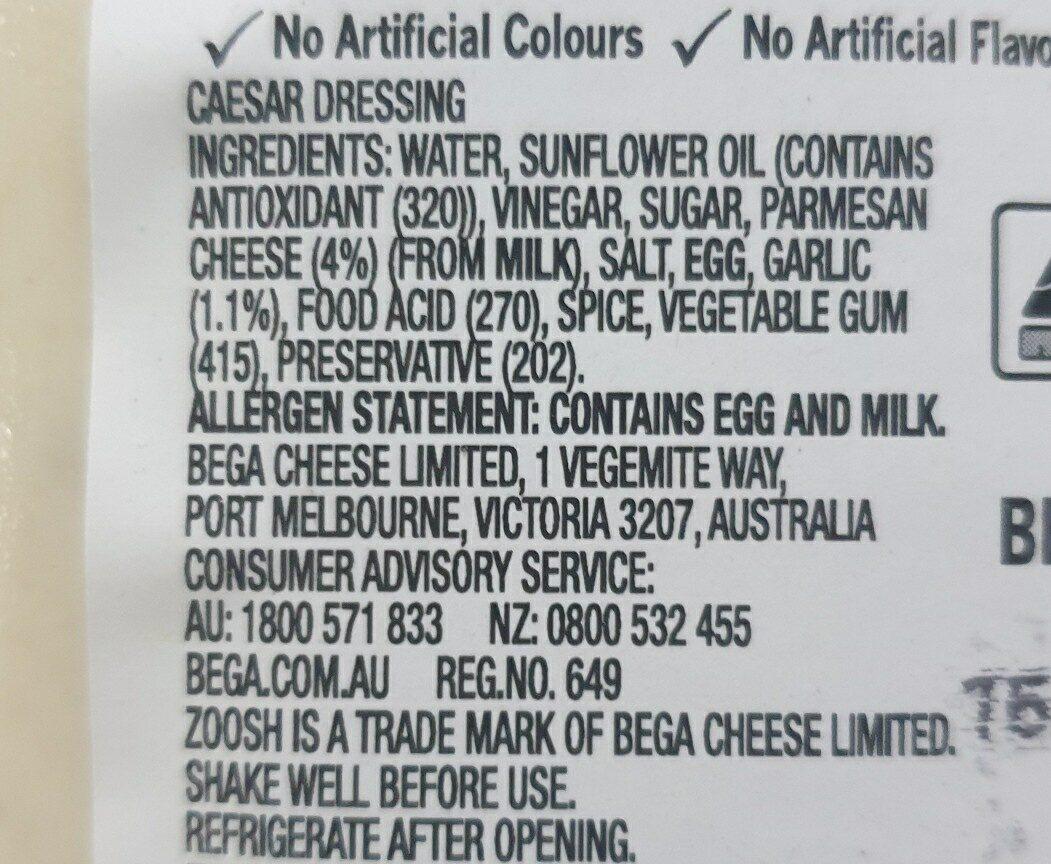 zoosh caesar dressing - Ingredients - en