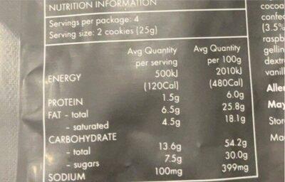 Coconut lamington cookie - Nutrition facts - en