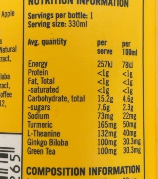 Shine+ Orange Mango - Nutrition facts - en