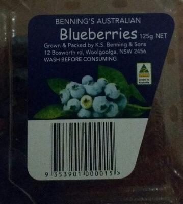 Benning's  Australian Blueberries - Ingredients - en
