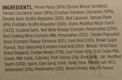 Chicken & Chorizo Pasta - Ingredients - en