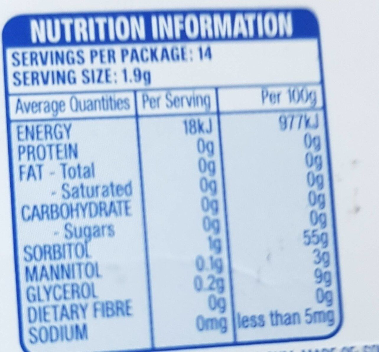 EXTRA strawberry flavour - Nutrition facts - en
