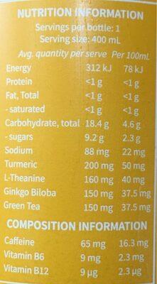 Sparkling nootropic drink - Nutrition facts