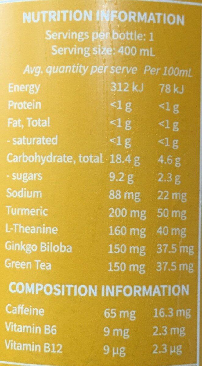Sparkling nootropic drink - Nutrition facts - en