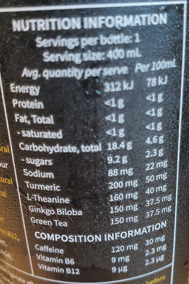 Shine Wild Tropical Flavour - Nutrition facts