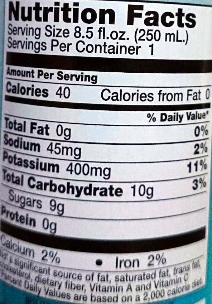 100% Pure Coconut Water - Nutrition facts - en