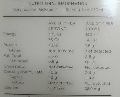Inside/out Almond milk - Nutrition facts