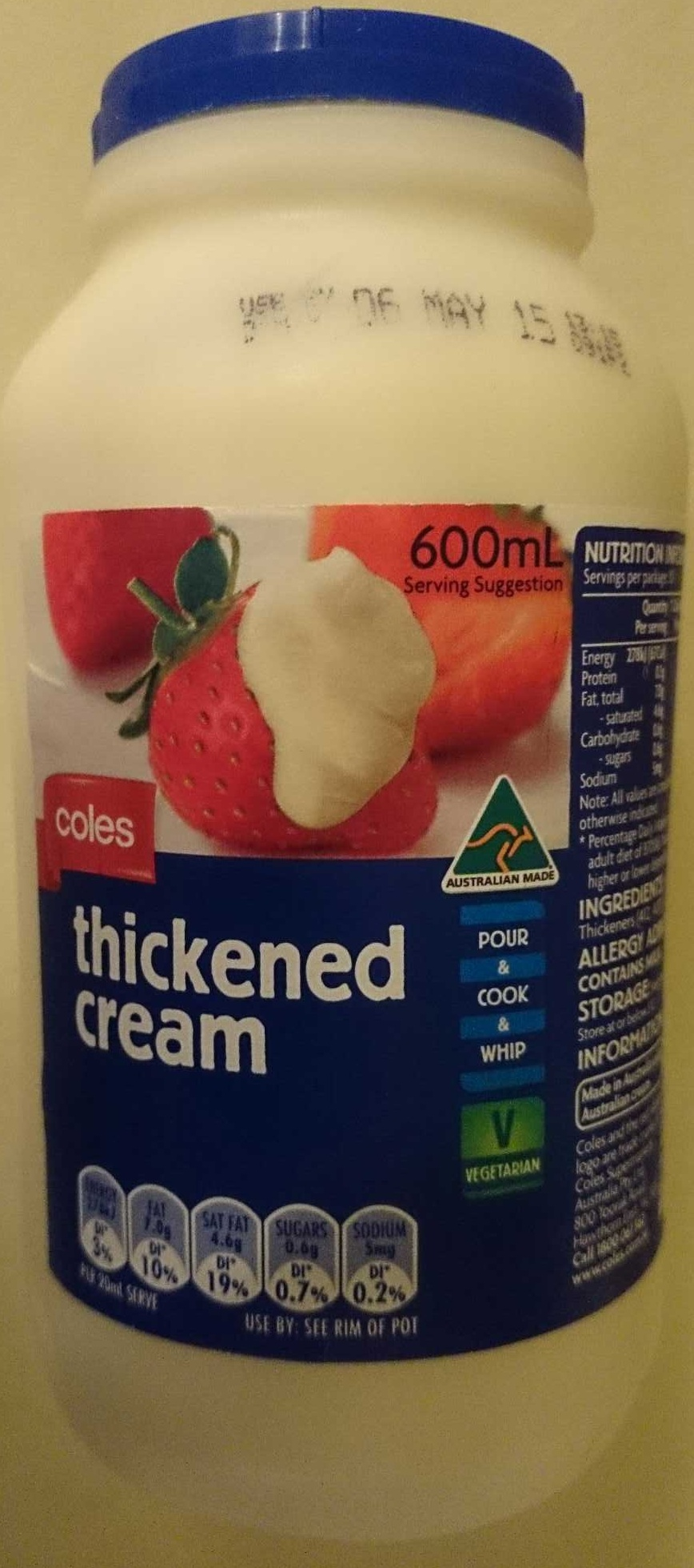 Coles Thickened Cream - Product - en