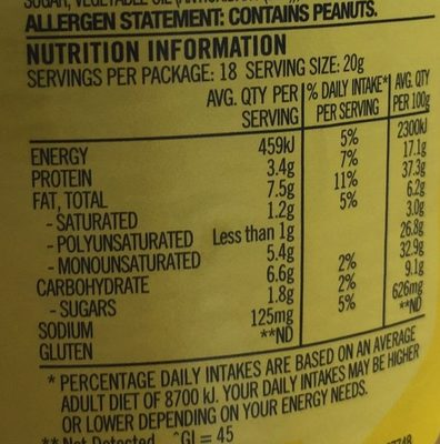 Light Crunchy Peanut Spread - Nutrition facts