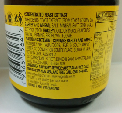Vegemite - Ingredients