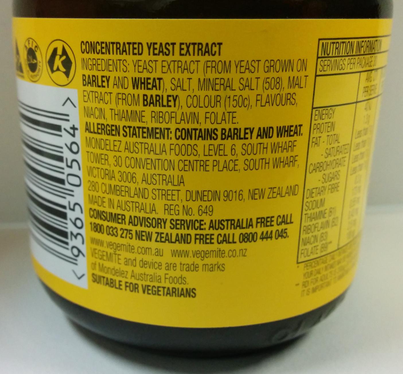 Vegemite - Ingredients