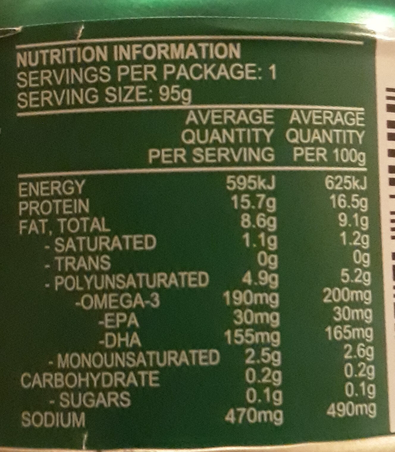 Tuna Herb & Garlic - Nutrition facts
