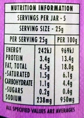 Chicken & Ham Tasty Spread - Nutrition facts - en
