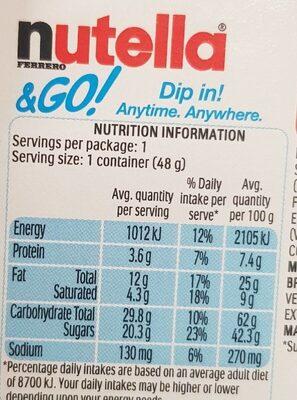 nutella & go - Nutrition facts - en