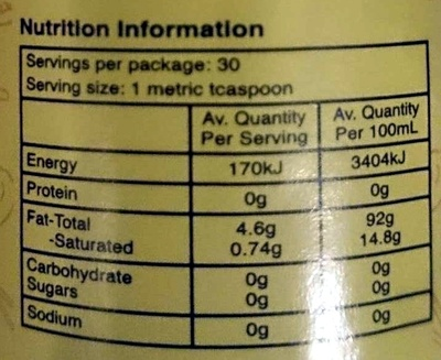 Changs Sesame Oil - Nutrition facts
